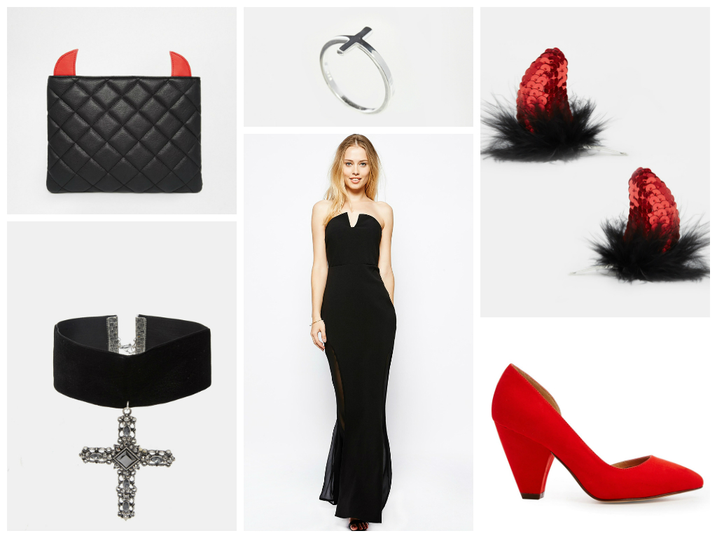 Black dress red heels accessories - Devil Woman Halloween Outfit Idea