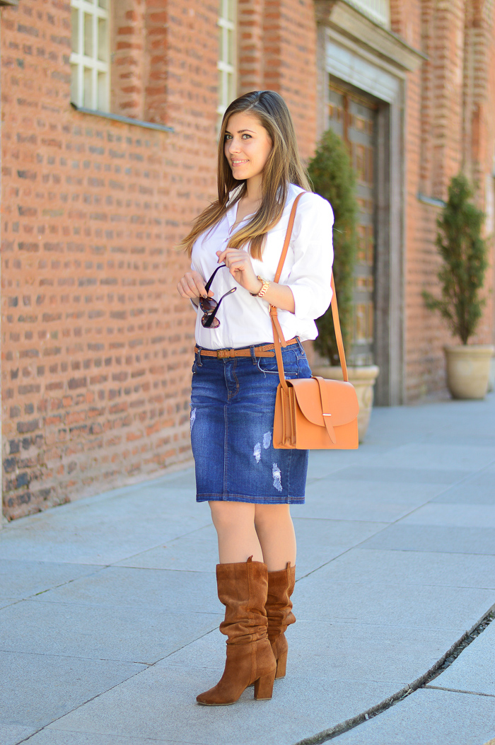 Distressed Denim Skirt Denina Martin