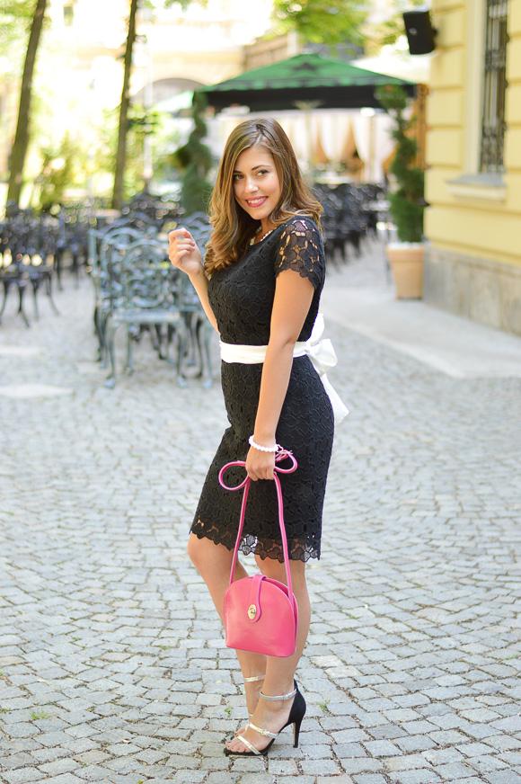 Black Lace Dress styled by Bulgarian Fashion Blogger Denina Martin