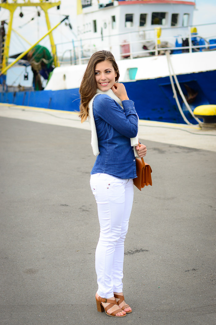 Denim Shirt White Jeans Harbour Girl Nessebar Denina Martin Bulgarian Fashion Blogger