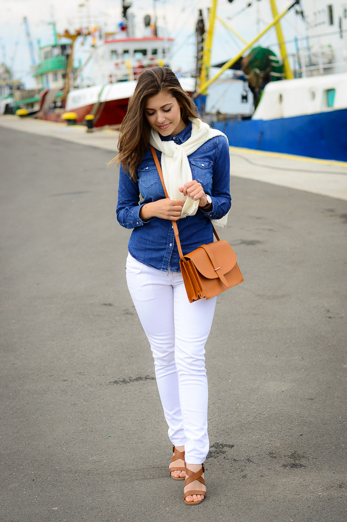 Denim Shirt White Jeans Harbor Girl Nessebar Denina Martin Bulgarian Fashion Blogger