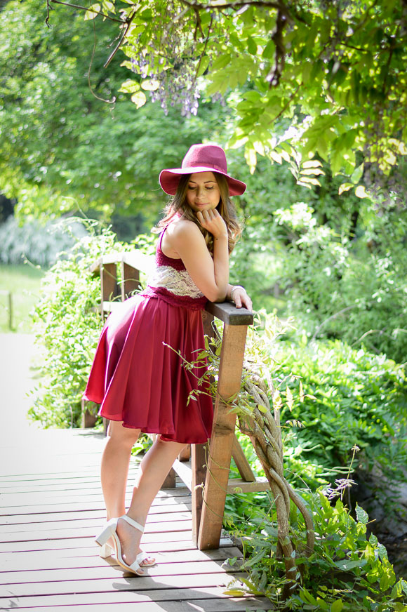 Bulgarian Fashion Blogger Denina Martin at Vrana, Sofia wearing a little marsala dress