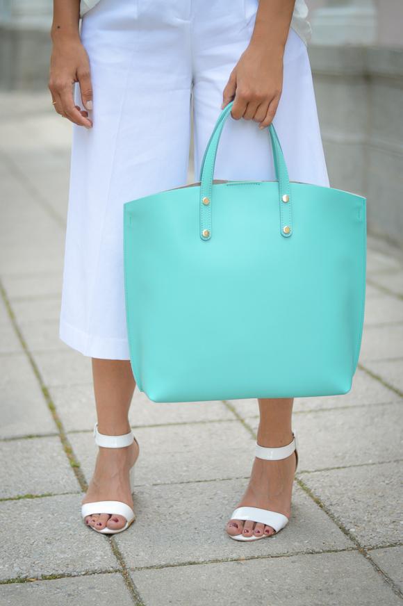 Pronta Turquoise Tote Handbag Styled By Denina Martin