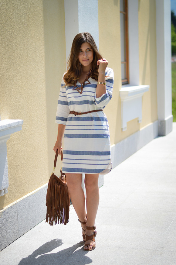 Bulgarian Fashion Blogger Denina Martin in Stripes Dress and Fringe