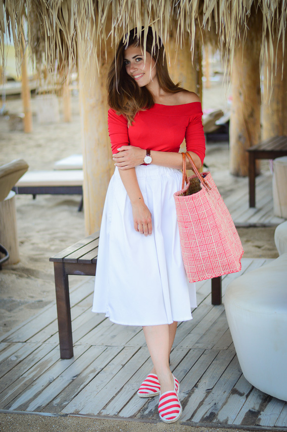 Beach Casual in Red Espadrilles Styled by Denina Martin