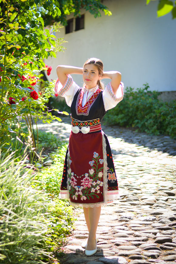 Bulgarian Girl Wearing Traditional Attire during Rose Festival in Kazanlak