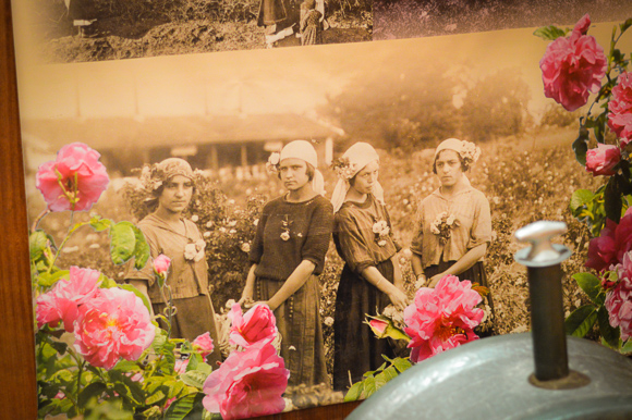 Old Photo of Women Wearing Roses in Kazanlak