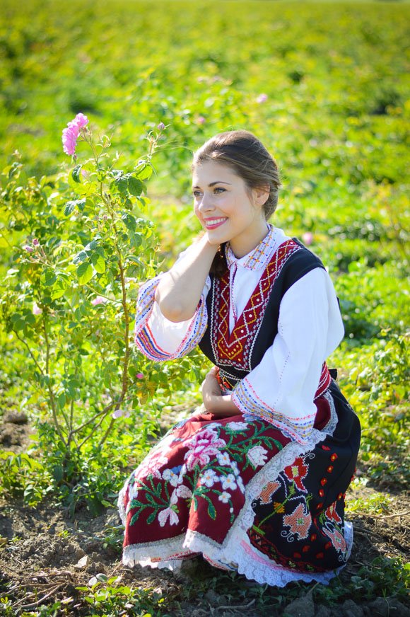 Bulgarian Traditional Attire worn by Bulgarian Fashion Blogger Denina Martin during the Rose Festival in Kazanlak