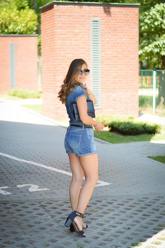 a8609dfedcf0 ... Denina Wearing Denim Romper by Gas Jeans ...