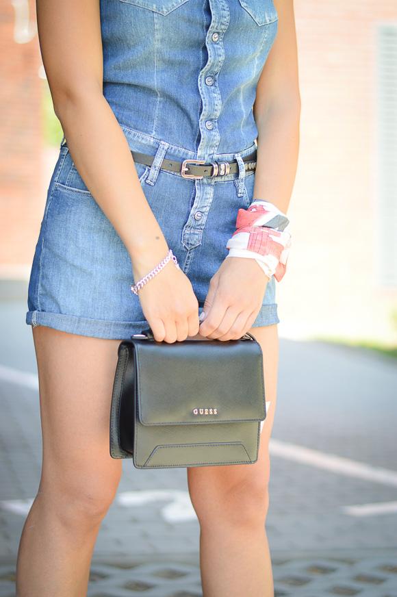 d81b645fe50d Denina Martin s Denim Passion Guess Mini Bag in Black Leather Styled by Denina  Martin ...