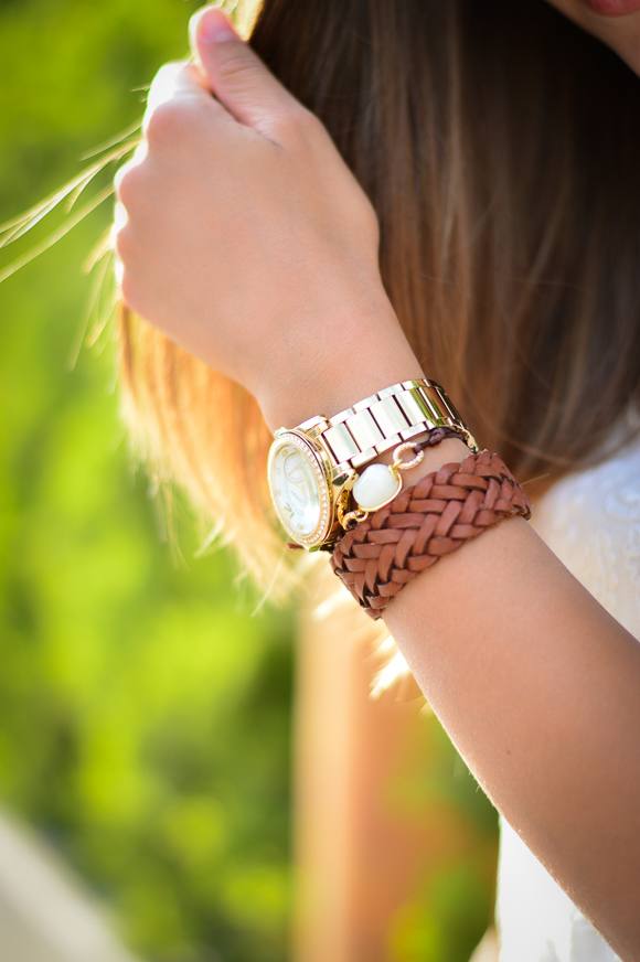 Gold and tan accessories