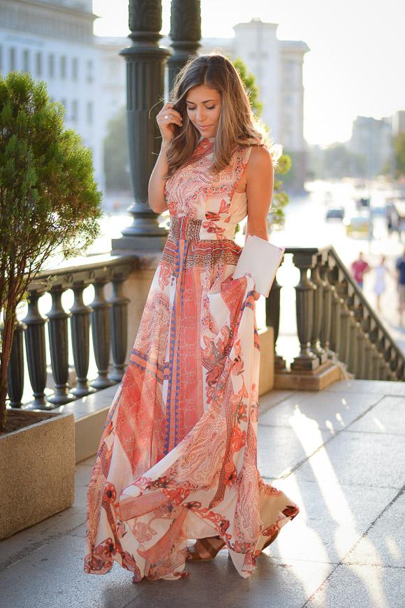 Bulgarian Fashion Blogger Denina Martin wearing a bohemian maxi dress
