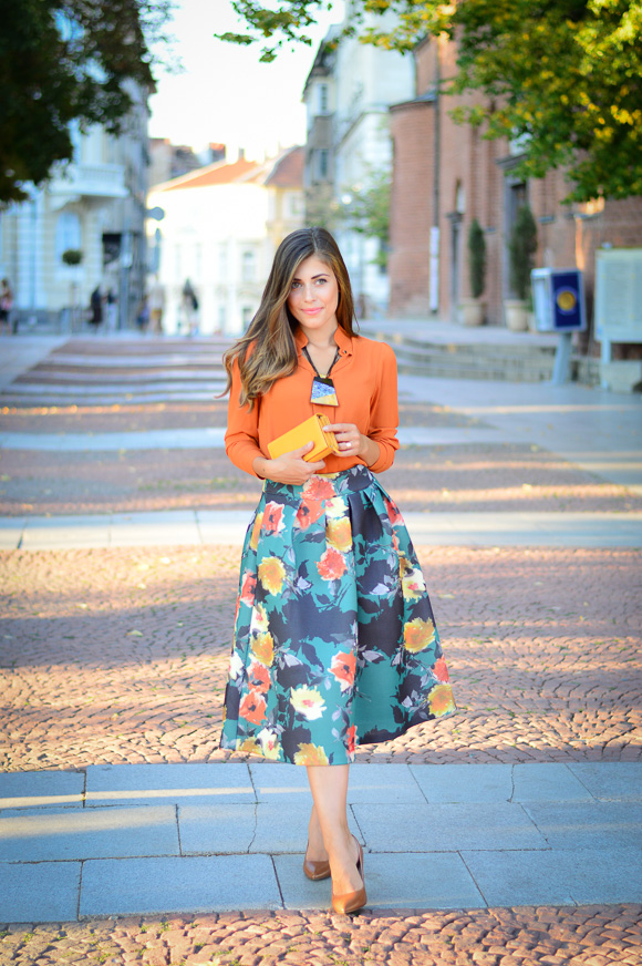 Floral-Skirt-Burnt-Orange-Denina-Martin-Bulgaria-Mall-Katty-1