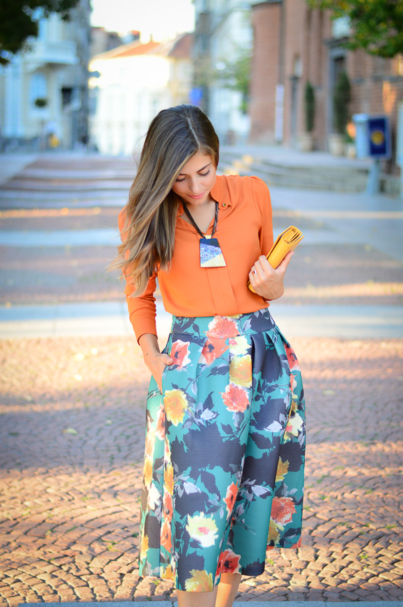 Floral-Skirt-Burnt-Orange-Denina-Martin-Bulgaria-Mall-Katty-3