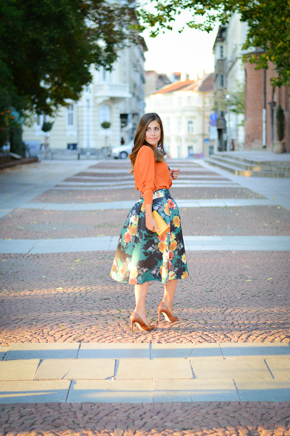 Floral-Skirt-Burnt-Orange-Denina-Martin-Bulgaria-Mall-Katty-6