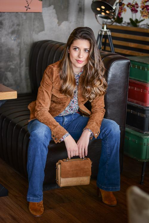 Laidback-Soho-Cafe-Flare-Jeans-Suede-Jacket-Denina-Martin-6