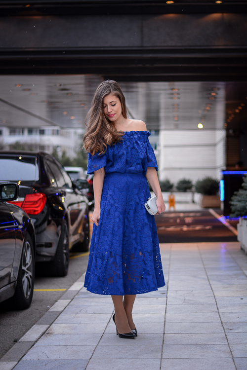 Sofia Fashion Week 2016 H&M Blue Lace Dress
