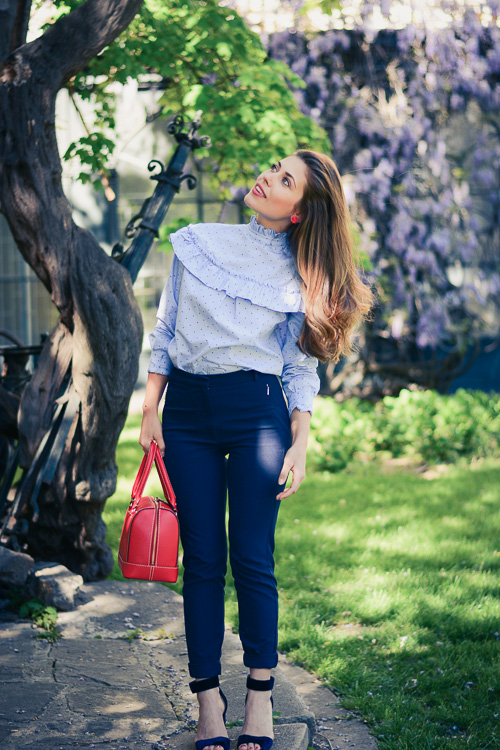 Fashion blogger Denina Martin wearing Back-to-front shirt trend