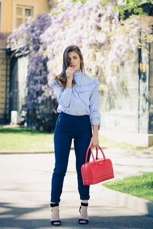 Fashion blogger Denina Martin wearing Kate Spade Red Tote