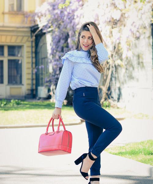 Fashion blogger Denina Martin wearing Kate Spade Red Tote