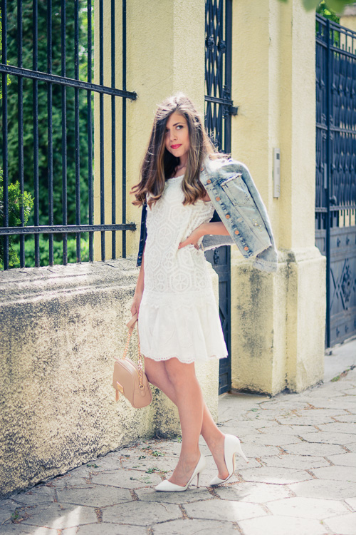 Denina Martin Wearing Desigual White Crochet Dress Guess Denim Jacket