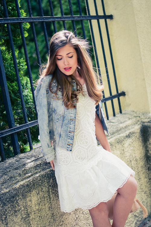 Desigual White Crochet Dress Guess Denim Jacket