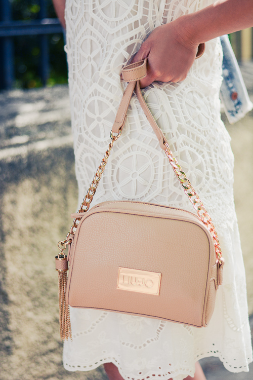 Liu Jo HandBag and White Crochet Dress