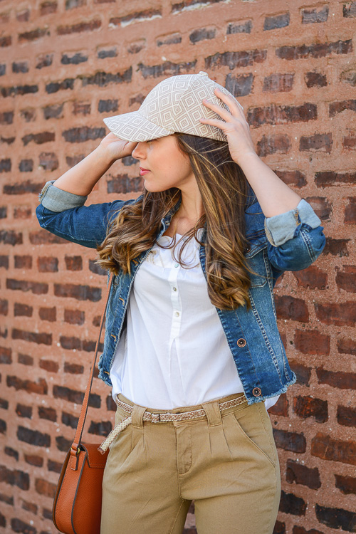 Embroidered Cap and Denim Jacket