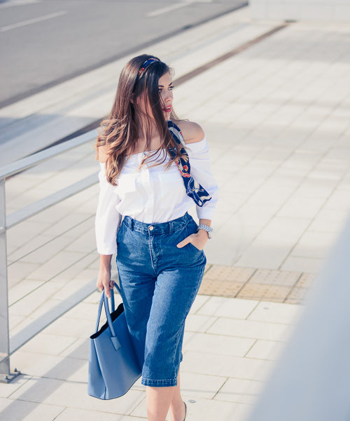 Denina Martin wearing Denim Culottes