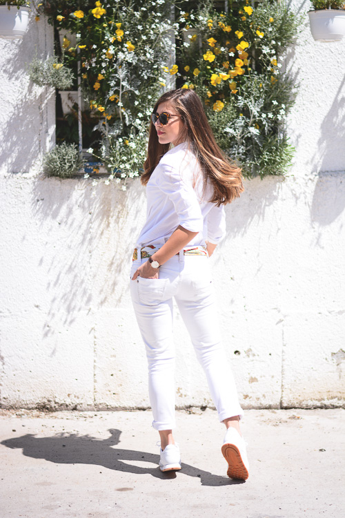 Wearing All White Reebok Classic by Fashion Blogger