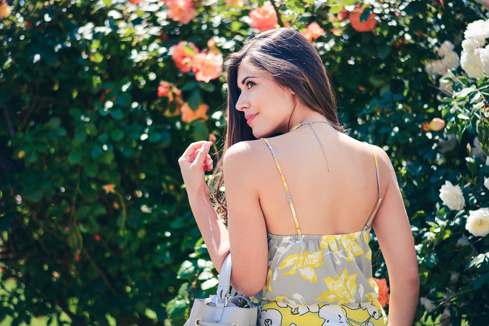 Benetton Floral Top Skirt Summer Outfit by Denina Martin
