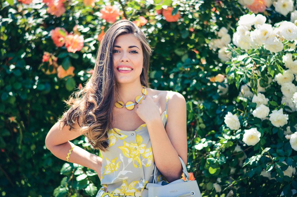 Denina Martin Wearing Benetton Floral Top Skirt Summer Outfit