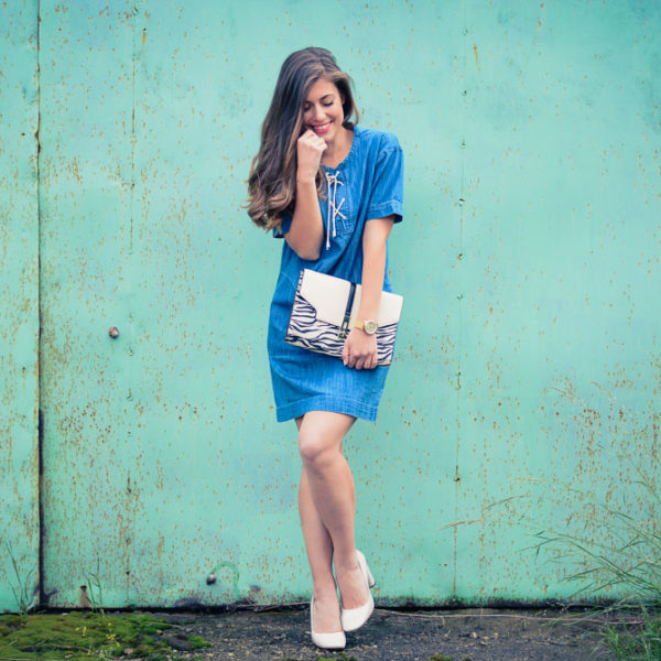 Lace Up Denim Oversized Dress Debenhams and Denina Martin