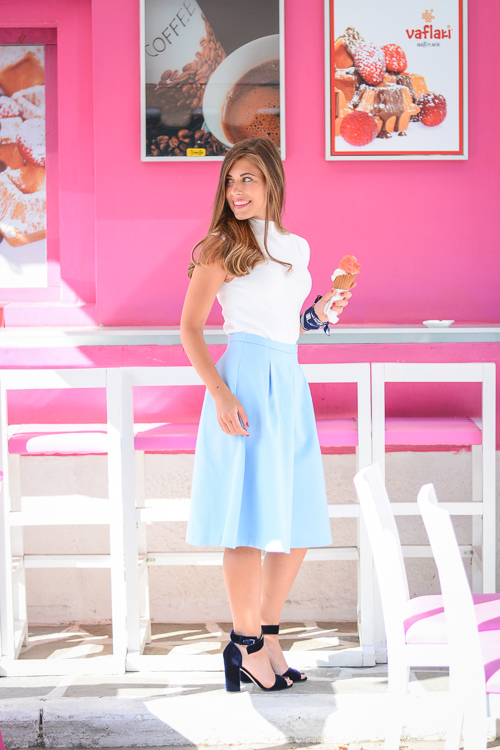 Chic Summer Outfit Blue Skirt Gelato Ice Cream Denina Martin