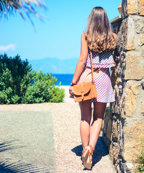 Denina Martin Wearing Colorful Gingham Dress Summer Fashion Outfit