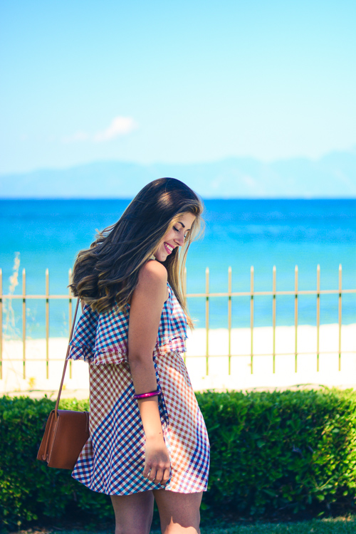 Denina Martin Wearing Gingham Dress Summer Fashion Outfit
