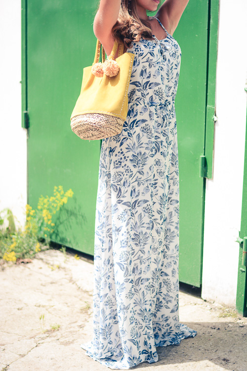 Pepe Jeans London Floral Blue Maxi Dress