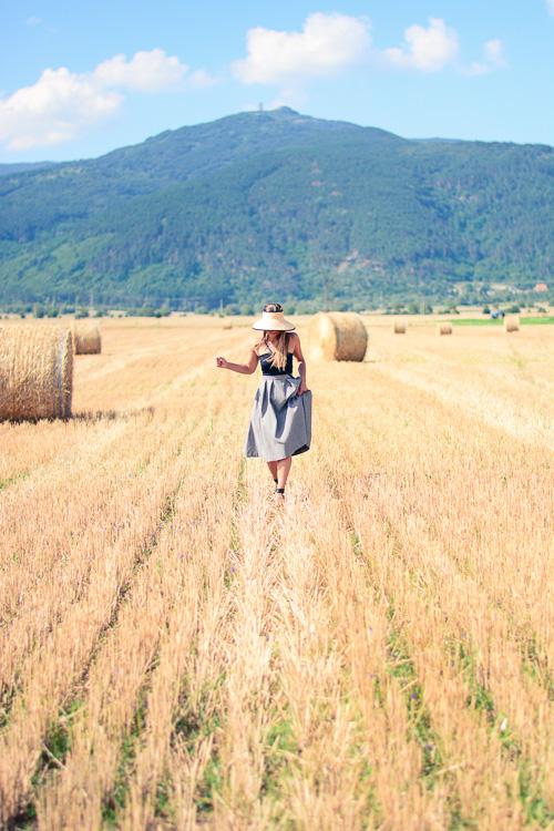 Running through Fields Of Gold Gingham Skirt