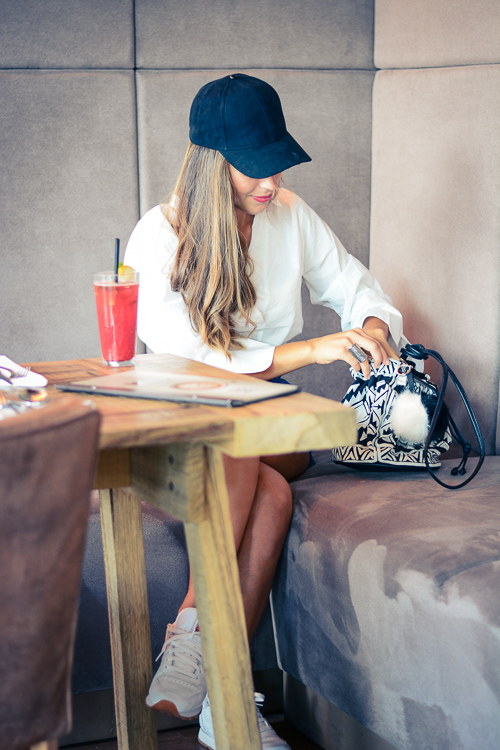 HM Denim Shorts Kimo Shirt Velvet Cap Soho Cafe