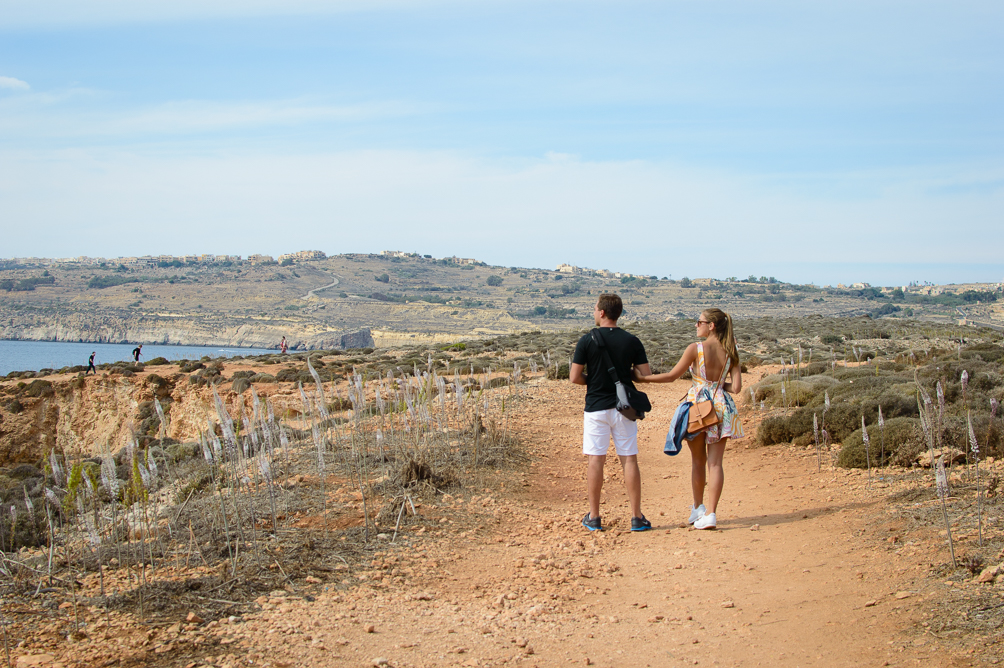 Couple exploring Comino Island of Malta