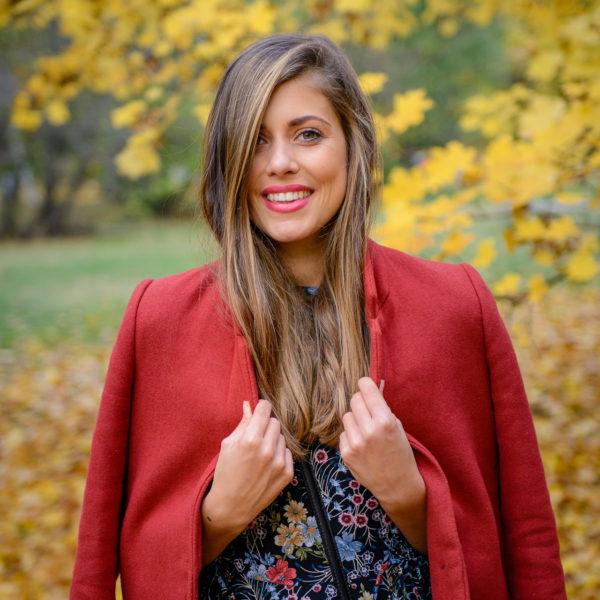 The Golden Season Autumn colors floraw dress Ralph Lauren bag Deninamartin