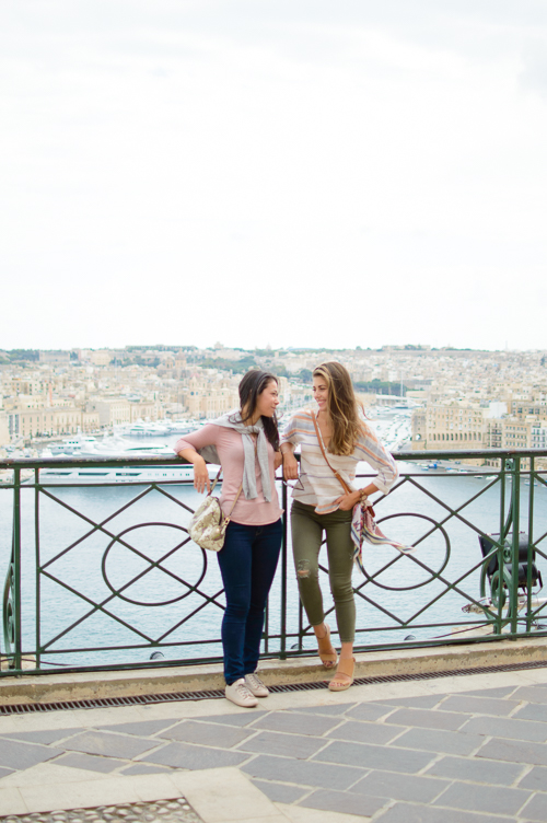 Friends exploring Malta city of Valletta