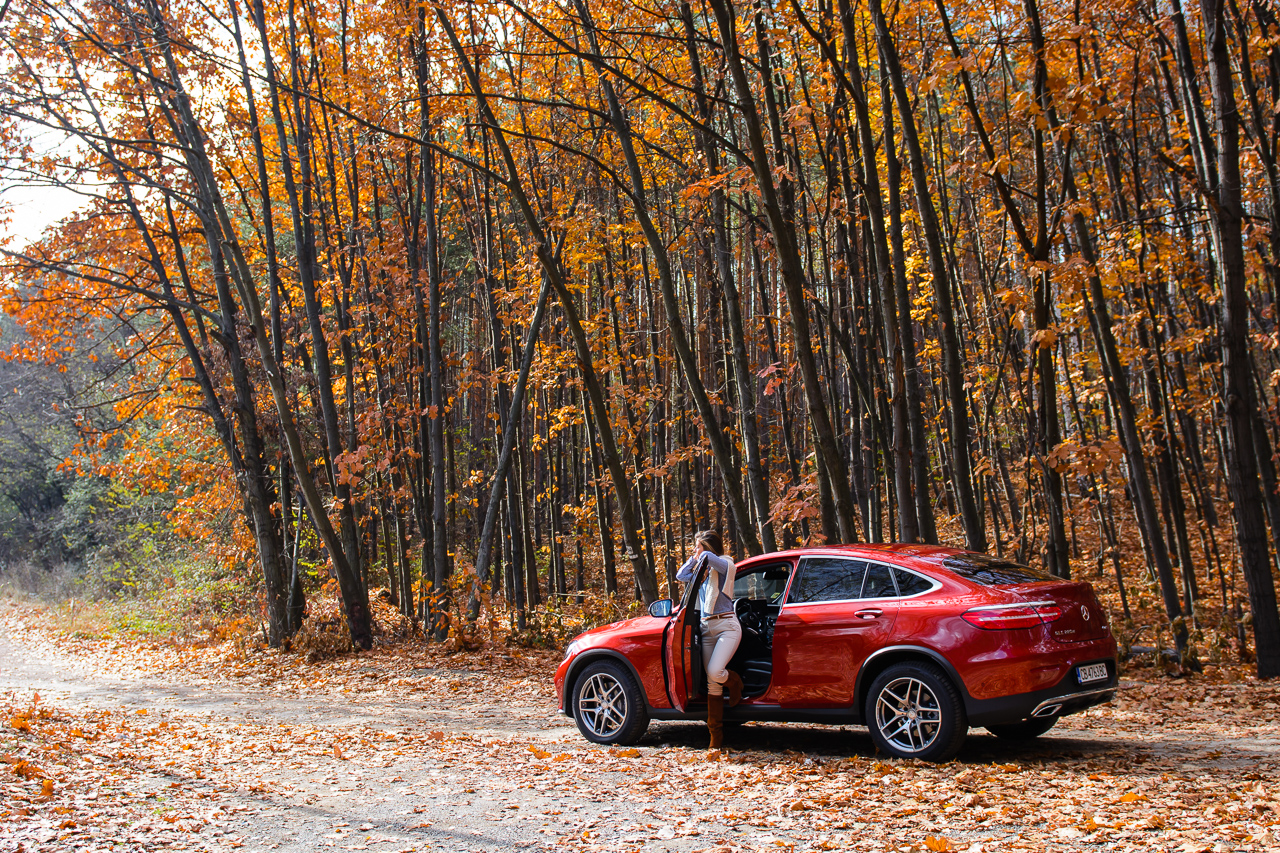 Driving Mercedes-benz glc AMG autumn style poster