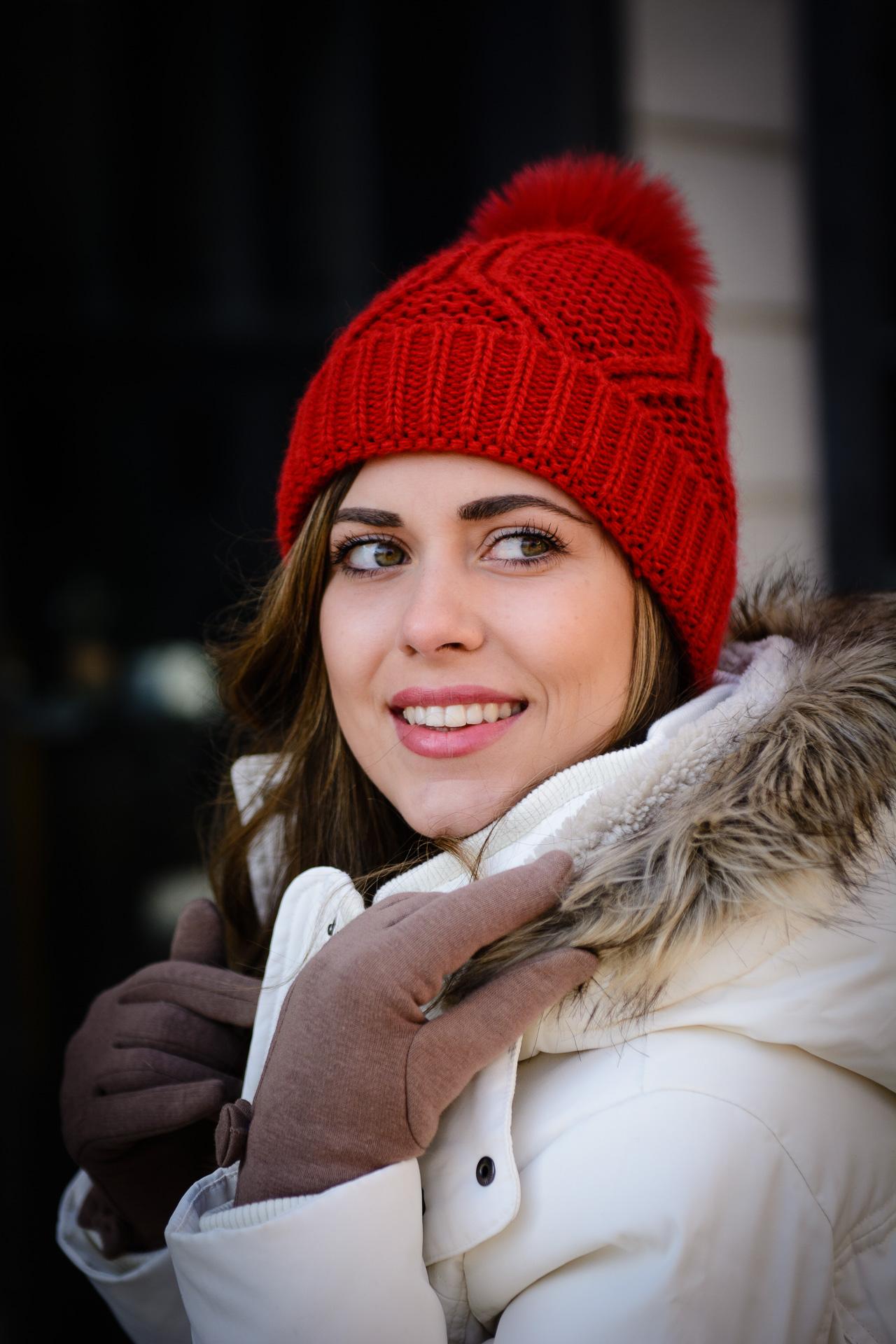 Bulgarian blogger Denina red hat beanie