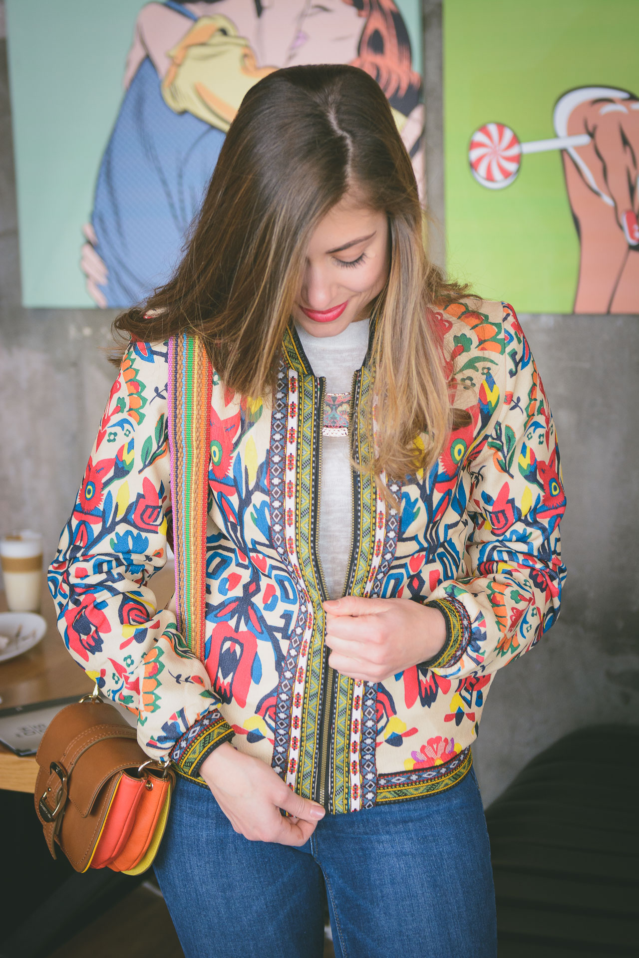 Fashion blogger Desigual bomber jacket