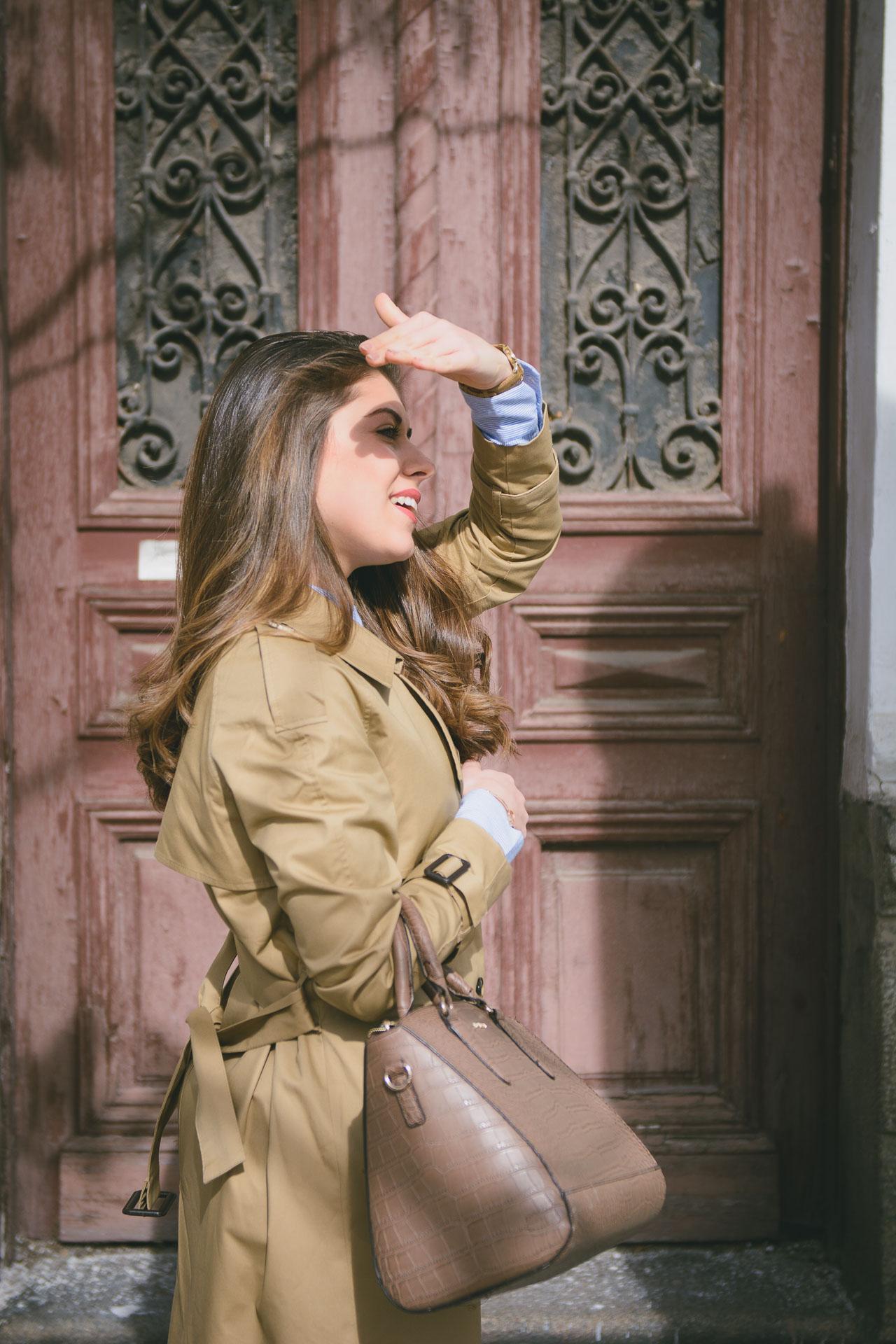 Denina Martin wearing Tom Tailor trench coat
