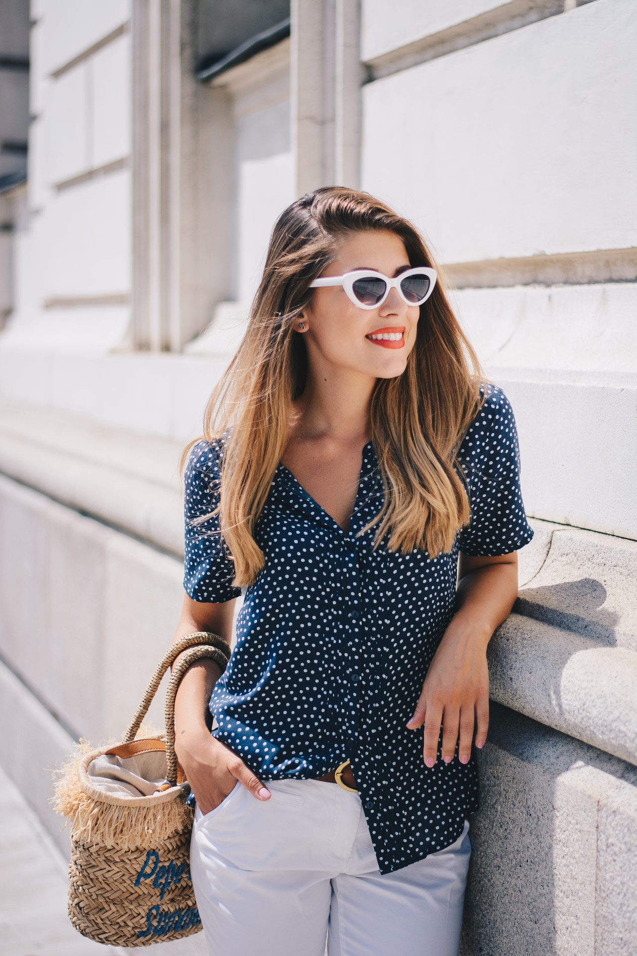Tom tailor Polka dot shirt blue