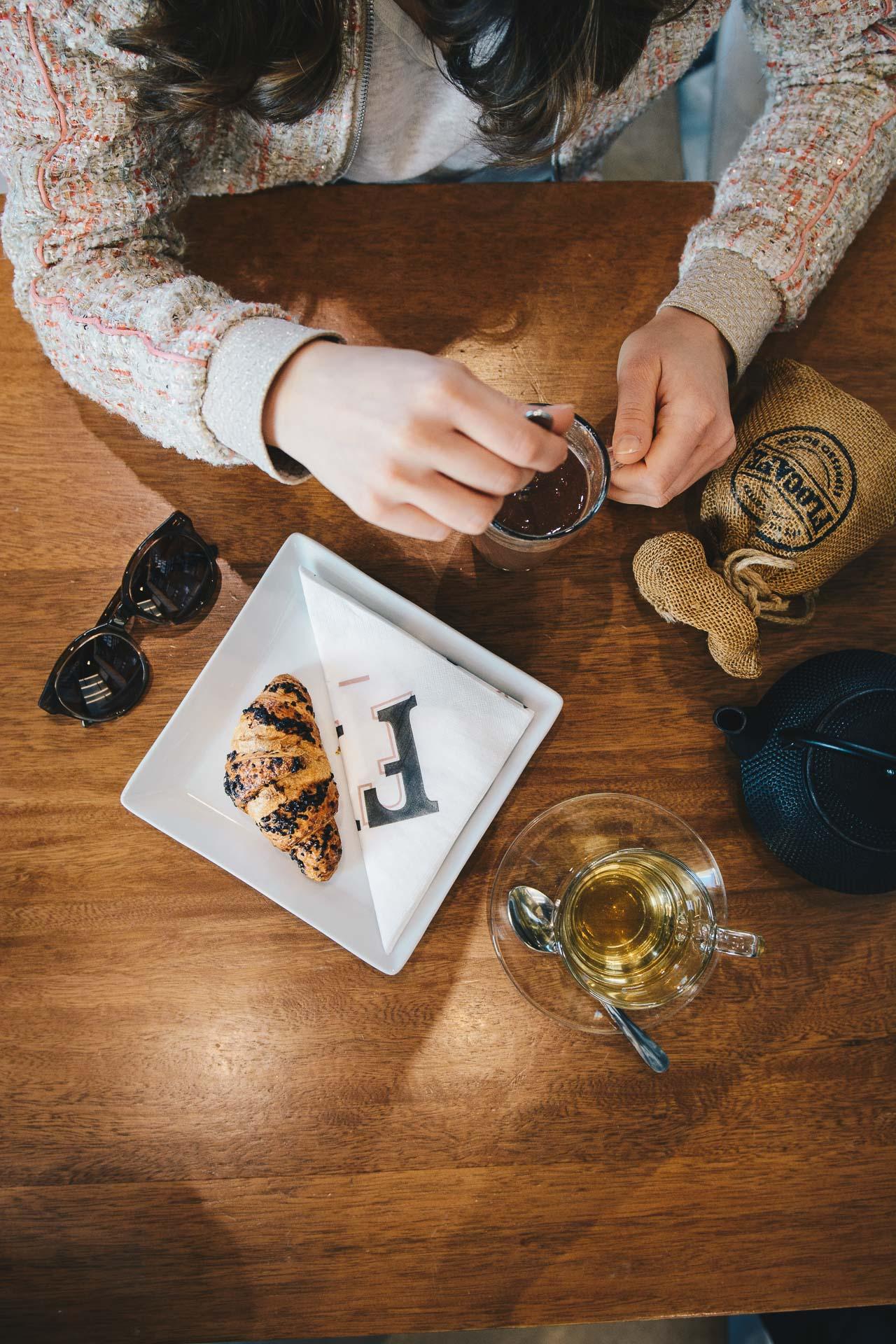 Tea Chococino and croissant