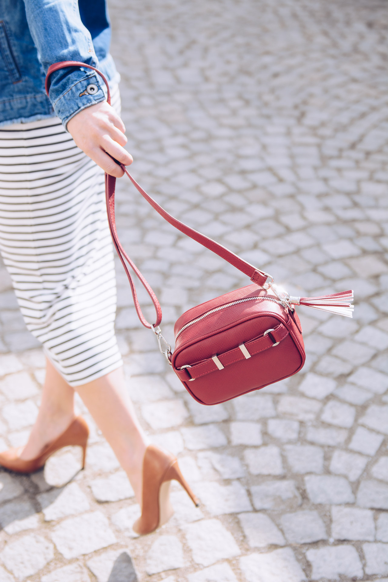 red crossbody handbag