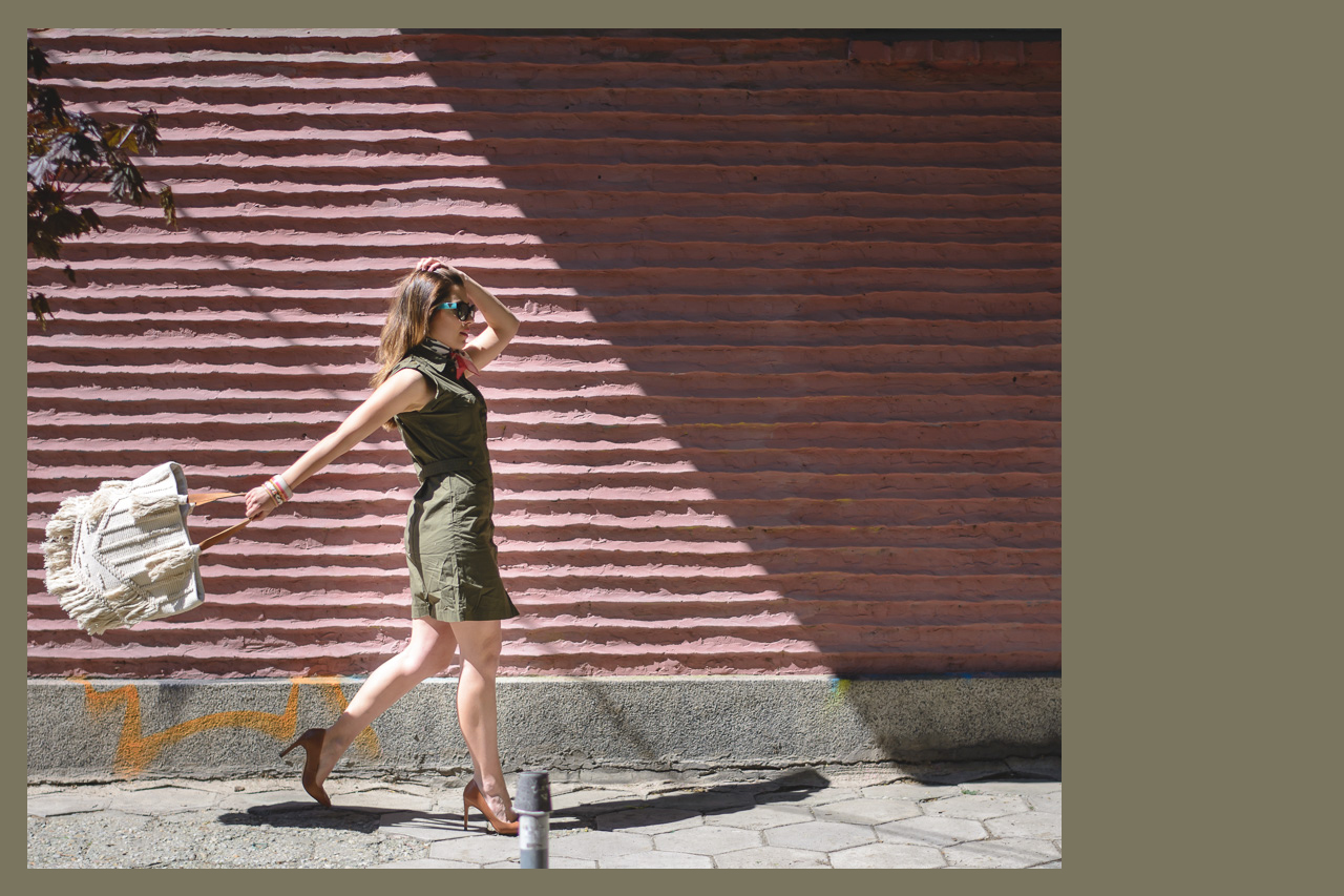 Bulgarian fashion blogger wearing khaki dress